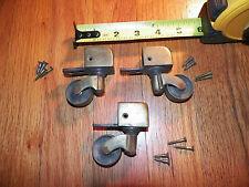 Set of 3 Vintage Brass Pedestal Base Casters