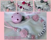 ♕ Personalised DUMMY CLIP ♕ Max 8 Letters ♕ ROSE SPARKLE ♕ 6 Colours ♕