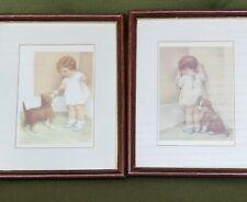 Framed Bessie Pease Gutmann Prints In Disgrace The Reward Lithographs Vtg Puppy
