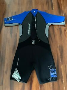 Seadoo BRP Mens size XL Shorty Wet Suit Stallion 4 Way Flex Black, Gray, Blue