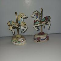 Melodies county fair collection Heritage House lot of 2 musical carousel Horses