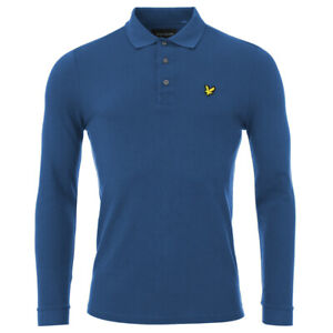 Mens Blue Lyle& Scott Cotton Piquet Long Sleeve T-shirt Polo Top
