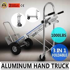 3 EN 1 Aluminio Plegable Carretilla de Mano Resistente Carro con Ruedas 450kg
