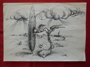 Old master, BEST, Modern,Rare drawings,Angel,original ink,Home Wall decor.