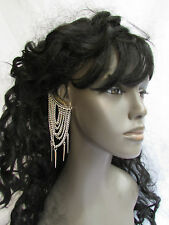 NEW WOMEN FASHION SILVER METAL CHAINS SPIKES OVER THE EAR CUFF TRENDY EARRINGS