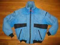 Vintage Men's Size Large Down Puffer Ski Snowboard Jacket Coat Blue Black 1980's