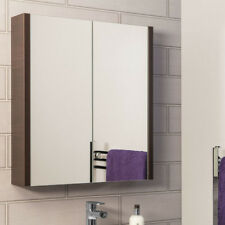 Bathroom Mirror Cabinet Double Doors Storage 600mm Chestnut MDF Wall Mounted