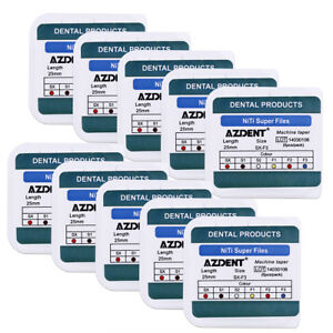 AZDENT Dental Endo NiTi Rotary Super Files Engine Use Machine Taper 25mm 6pc/Pks