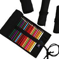 Colored Canvas Roll Up Pencil Case Wrap Pen Bag Pouch Storage Holder 12-48 Holes