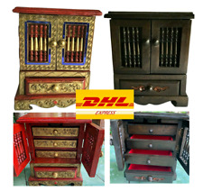 Mini Wooden Cabinet Thai Vintage Handmade Accent Storage Carved Jewelry 4 Drawer