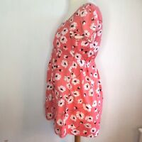 Laura Ashley Tunic Short Dress Size 12 Peach White Floral Cotton Short Sleeves