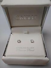 CRISLU Cubic Zirconia Stud Earrings~Sterling Silver Platinum Plated~New In Box!