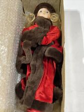 The Heirloom Treasure Porcelain Doll Blonde Hair Red Velvet Dress Fur Hat + Muff