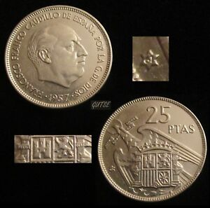 SPAIN, FRANCO, 25 PESETAS 1957*61, WITH PLUS, DIFFICULT, ALMOST UNCIRCULATED