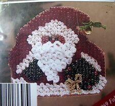 NIP Mill Hill Folksy Santa Holiday Counted Glass Bead Ornament Kit w/Pin Back