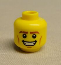 x1 NEW Lego Minifig Head w/ Thick Brown Eyebrows Cheek Lines & Open Mouth