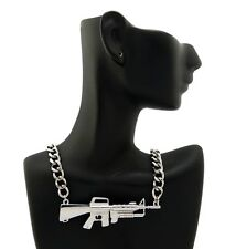 "NEW CELEBRITY STYLE MACHINE GUN PENDANT &16"" LINK CHAIN FASHION NECKLACE - XC487"