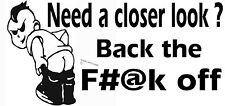 FUNNY TAILGATE TAILGATER STICKER BACK THE F#@K OFF BUMPER STICKER WHITE