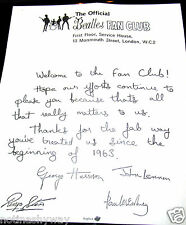 BEATLES Fan Club Letter Signed all Band Members Rock n Roll Pop Music Yesterday