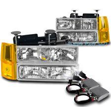 94-98 GMC C/K 1500 SUBURBAN HEADLIGHTS LAMP W/BUMPER+CORNER+50W 6K HID KIT CLEAR