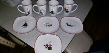 "Fitz & Floyd Essentials ""Merry Christmas"" Latte Mugs and plates"