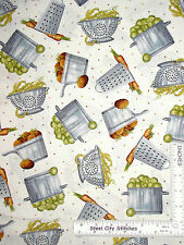 Kitchen Cook Pot Pan Food Ecru Cotton Fabric Quilting Treasures Cuisine - Yard