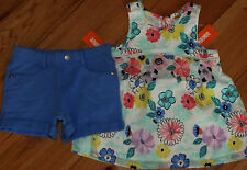 Gymboree Tropical Breeze floral baby doll top & blue shorts set NWT 8