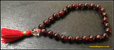GARNET JAPA MALA BRACELET 27+1 ROSARY 8 MM ROUND STONE BEADS ENHANCES STRENGTH