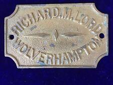 ORIGINAL ANTIQUE BRASS SAFE PLATE - RICHARD.M.LORD