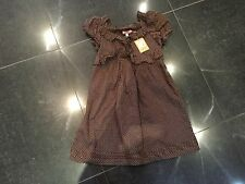 NWT Juicy Couture New & Gen. Brown/Pink Cotton Ruffle Frill Dress Girls Age 8