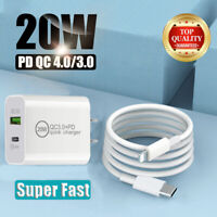 For iPhone 12 Pro/11/ ipad Fast Charger 20W PD Power Adapter Type-C USB QC 3.0