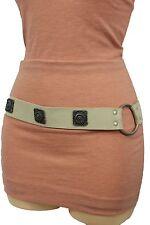 Women Tie Belt Off White Ethnic Charms Hip High Waist Genuine Suede Leather M L