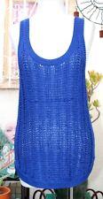 VINCE Open Knit Tank Top Hi-Low Sleeveless Cobalt Blue S
