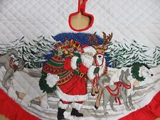 Quilted Christmas Tree Skirt Santa Animals Dogs Reindeer Polar Bear 43 Inch