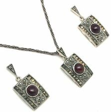Pendant & STUDS GARNET CABOCHON MARCASITE 925 Silver Sterling Silver