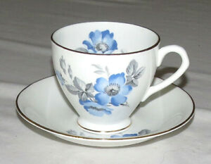 English Castle Staffordshire Blue Flowers & Gold Trim Cup & Saucer