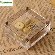 Acrylic Cubic Gold Wind Up Music Box : Greensleeves