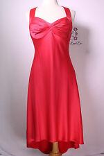 Calvin Klein Watermelon Pink Satin Hi-Lo Cocktail Social Dress Size 8 New $158