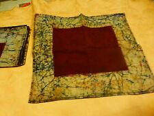 ,jaune ,tissus broché ,ovale ,belle nappe et 8serviettes batik neuves assorties