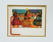 """Friedensreich Hundertwasser """"The Expulsion"""" Matted Offset Color Lithograph 1986"""