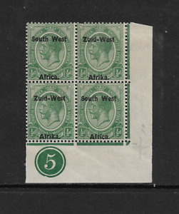 1923 South West Africa - Corner Block of Four With Tabs - Mint and Never Hinged.