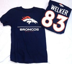 Denver Broncos Football Wes Welker 83 Short Sleeve T-Shirt Navy Medium