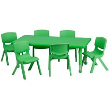 """Flash 24""""Wx48""""L Adjust Rect Green Plastic Activity Table Set w/6 Stack Chairs"""
