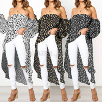 Women Off Shoulder Long Sleeve Blouse Shirts Ladies Leopard Tunic Tops Plus Size