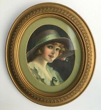 antique oval wooden gesso frame 10 x 12 matted print of victorian lady green hat