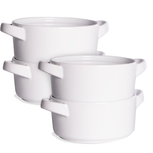 Soup Bowls with Handles Set of 4 Cereal Pasta Stew Bowl Serving Bowls M&W