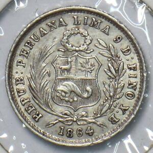 Peru 1864 1/2 Dinero 295727 combine shipping