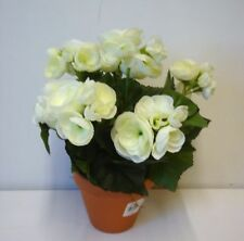 New 11in Tall Potted White Begonia Bush Artificial Silk Flowers Pot Plant