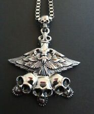 MENS GOTHIC EMO LARGE SILVER BOX CHAIN NECKLACE WITH XL 3 SKULLS & WINGS PENDANT