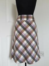 Laura Ashley Purple Plaid Wool Blend Pencil Skirt UK8 Check Grey Office Workwear